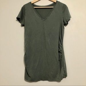 Green V Neck Maternity T Shirt Top